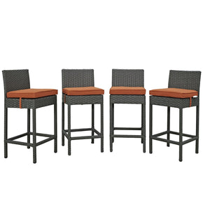 Sojourn 4 Piece Outdoor Patio Rattan Sunbrella Pub Set Canvas Tuscan Bar