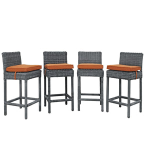 Summon Bar Stool Outdoor Patio Sunbrella Set Of 4 Canvas Tuscan