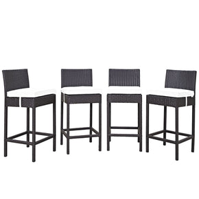 Convene 4 Piece Outdoor Patio Pub Set Espresso White Bar