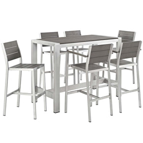 Shore 7 Piece Outdoor Patio Aluminum Dining Set Silver Gray Bar