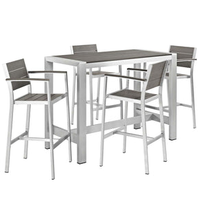 Shore 5 Piece Outdoor Patio Aluminum Dining Set Silver Gray Bar