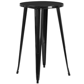 24'' Round Metal Indoor-Outdoor Bar Height Table (Multiple Colors) Black Outdoor