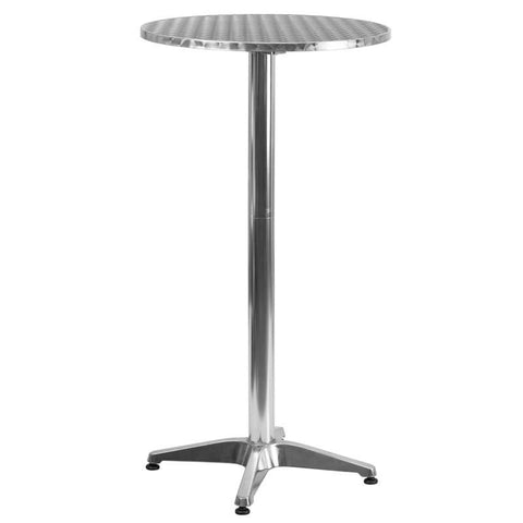 25.5'' Round Aluminum Indoor-Outdoor Folding Bar Height Table With Base Outdoor