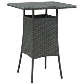 Sojourn Small Outdoor Rattan Patio Bar Table Chocolate