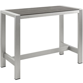 Modway EEI-2253-SLV-GRY Shore Outdoor Patio Aluminum Rectangle Bar Table | 889654064787 | $471.50. Outdoor Bar Tables. Buy today at http://www.contemporaryfurniturewarehouse.com