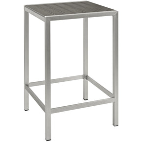Shore Outdoor Patio Aluminum Bar Table Silver Gray
