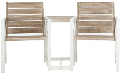 Jovanna 2 Seat Bench White Frame/ Oak Outdoor