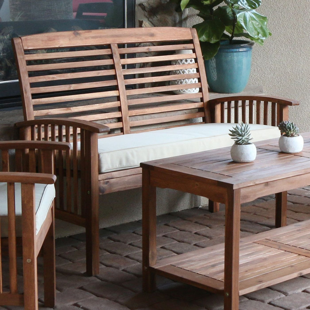 Acacia Wood Patio Loveseat Bench Brown Outdoor
