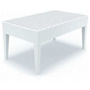 Miami Rectangle Resin Coffee Table White Outdoor
