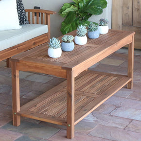 Acacia Wood Patio Coffee Table Brown Outdoor