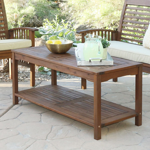 Acacia Wood Patio Coffee Table Dark Brown Outdoor
