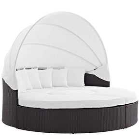 Convene Canopy Outdoor Patio Daybed Espresso White