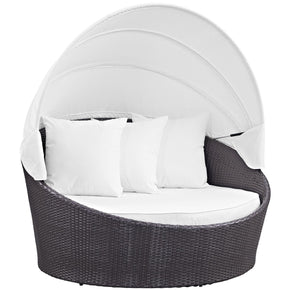 Outdoor Daybeds - Modway EEI-2175-EXP-WHI Convene Canopy Rattan Outdoor Patio Daybed | 889654045731 | Only $888.50. Buy today at http://www.contemporaryfurniturewarehouse.com