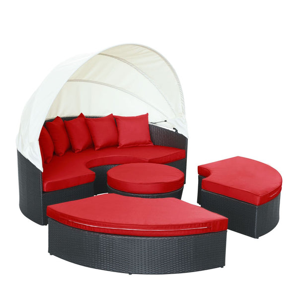 Quest Canopy Outdoor Patio Daybed Espresso Red