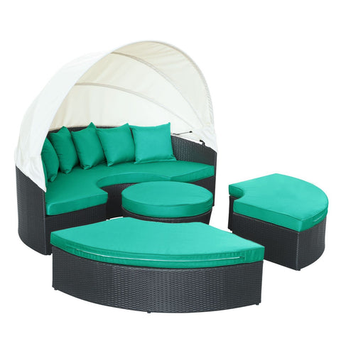 Quest Canopy Outdoor Patio Daybed Espresso Turquoise