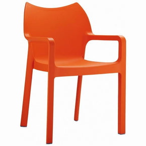 Diva Resin Outdoor Dining Arm Chair Orange (Set Of 4)