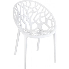 Crystal Polycarbonate Modern Dining Chair Glossy White (Set Of 2) Outdoor