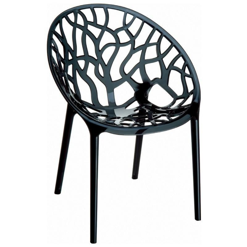 Crystal Polycarbonate Modern Dining Chair Transparent Black (Set Of 2)  Outdoor