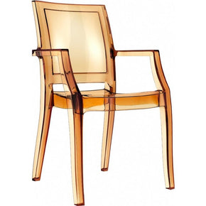 Arthur Polycarbonate Modern Dining Chair Transparent Amber (Set Of 4) Outdoor