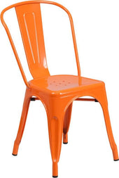Metal Indoor-Outdoor Stackable Chair Orange Outdoor Dining