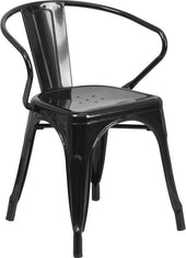 Metal Indoor-Outdoor Chair With Arms Black Outdoor Dining