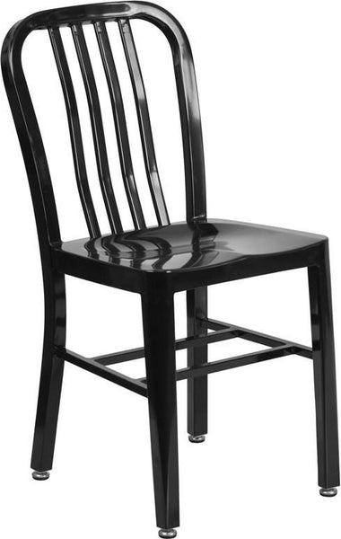 Metal Indoor-Outdoor Chair (Multiple Colors) Black Outdoor Dining