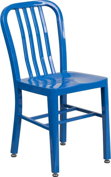 Metal Indoor-Outdoor Chair (Multiple Colors) Blue Outdoor Dining