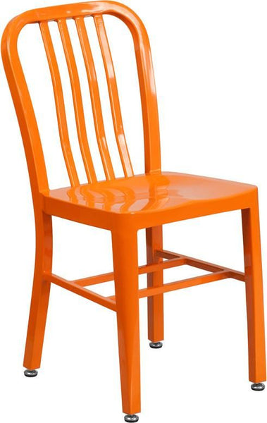 Metal Indoor-Outdoor Chair (Multiple Colors) Orange Outdoor Dining
