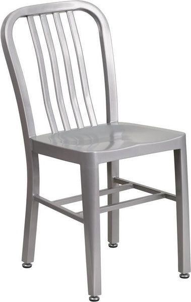 Metal Indoor-Outdoor Chair (Multiple Colors) Silver Outdoor Dining