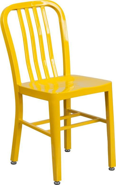 Metal Indoor-Outdoor Chair (Multiple Colors) Yellow Outdoor Dining