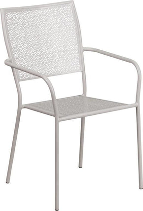 Flash Furniture Light Gray Indoor Outdoor Steel Patio Arm Chair With Square  Back CO