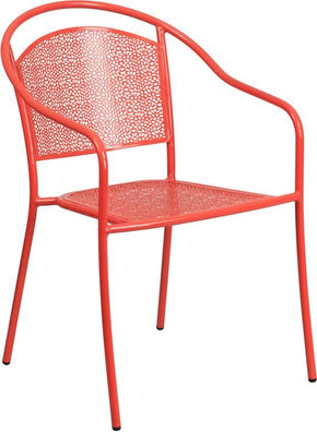 Coral Indoor Outdoor Steel Patio Arm Chair With Round Back Outdoor Dining