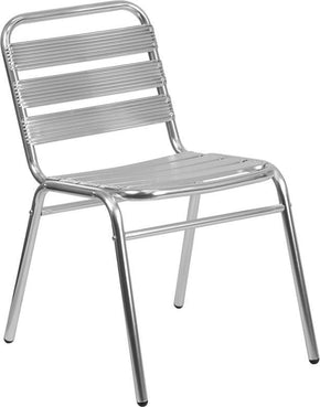 Aluminum Commercial Indoor-Outdoor Armless Restaurant Stack Chair With Triple Slat Back Outdoor Dining