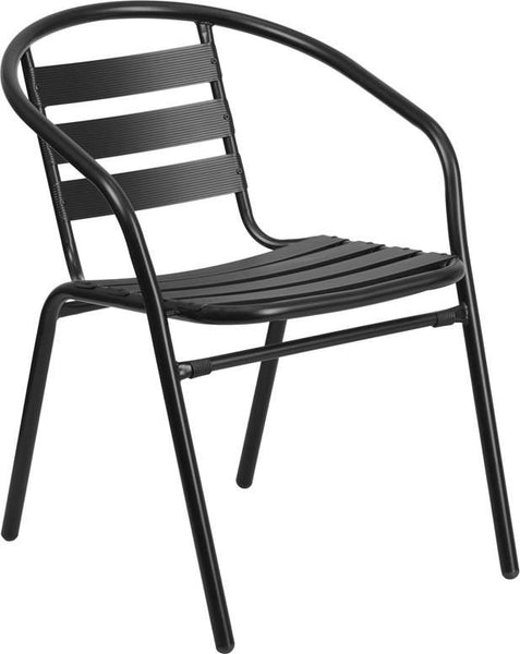 Metal Restaurant Stack Chair With Aluminum Slats Black Outdoor Dining
