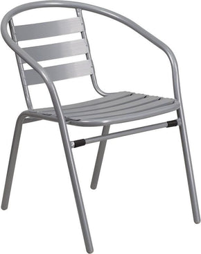Flash Furniture Metal Restaurant Stack Chair With Aluminum Slats  TLH 017C GG | 889142043669
