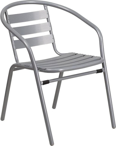 Metal Restaurant Stack Chair With Aluminum Slats Silver Outdoor Dining