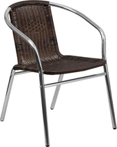 Aluminum And Rattan Commercial Indoor-Outdoor Restaurant Stack Chair Aluminum, Brown Outdoor Dining