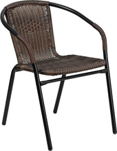 Rattan Indoor-Outdoor Restaurant Stack Chair Black, Brown Outdoor Dining