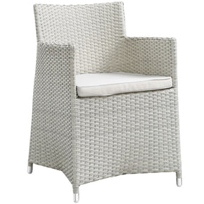 Junction Dining Outdoor Patio Armchair Gray White Chair