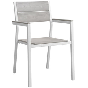 Maine Dining Outdoor Patio Armchair White Light Gray Chair
