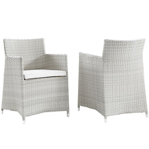 Junction Armchair Outdoor Patio Wicker Set Of 2 Gray White Dining Chair