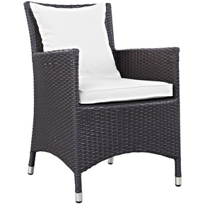 Convene Dining Outdoor Patio Armchair Espresso White Chair