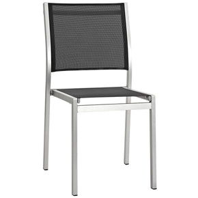 Shore Outdoor Patio Aluminum Side Chair Silver Black Dining