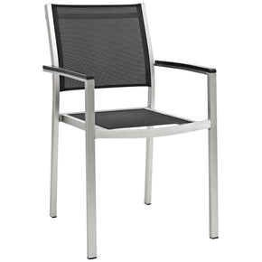 Shore Outdoor Patio Aluminum Dining Chair Silver Black