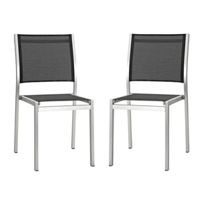 Shore Side Chair Outdoor Patio Aluminum Set Of 2 Silver Black Dining