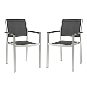 Shore Dining Chair Outdoor Patio Aluminum Set Of 2 Silver Black