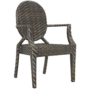 Casper Modern Outdoor Dining Armchair Dual-Tone Synthetic Rattan Weave Brown Chair
