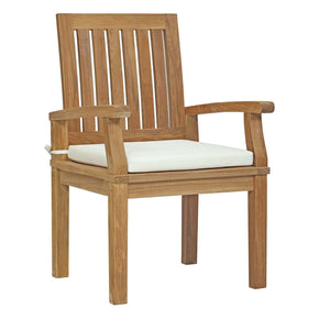 Marina Outdoor Patio Teak Dining Chair Natural White