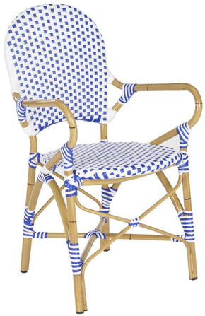 Hooper Indoor-Outdoor Stacking Armchair (Set Of 2) Blue & White Outdoor Dining Chair