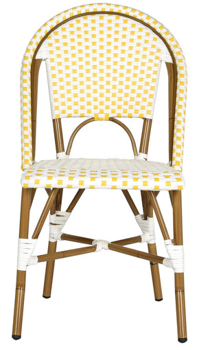 Salcha Indoor-Outdoor Stacking Side Chair (Set Of 2) Yellow&white Outdoor Dining